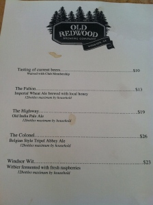 Old Redwood Brewing Beer List